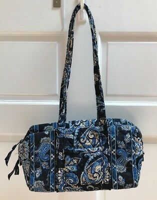 Vera Bradley Handbag Euc Retired Windsor Navy Blue Paisley Quilted