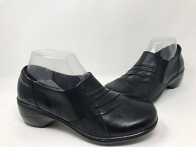 New! Women's Thom McAn 40345 Deidre Casual Heeled Loafer- (Wide Width) Black Q21