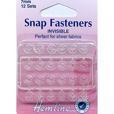 Hemline H422 | Clear Invisible Nylon Sew On Snap Fasteners | 7mm | 12 Sets