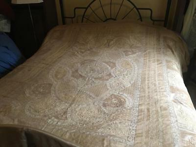 Gorgeous Antique 19C Normandy Lace Bedspread Coverlet Silk French W/ Silk Liner