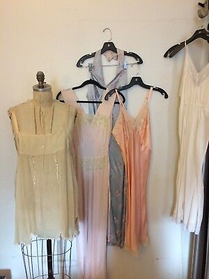 Vintage 1920s 1940s lingerie slips nightgowns rayon lot of 5 pieces