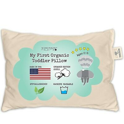 Toddler Pillow - ORGANIC Cotton MADE IN USA - Washable Unisex kids pillow 13X18