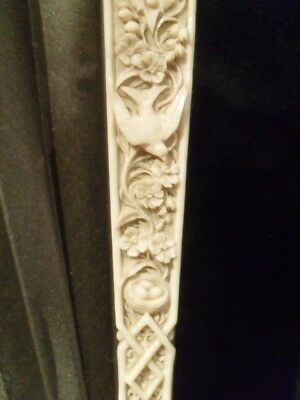 Superb 19Th Cent Dieppe Carved Bird Fan Eventail Chinese Interest Antique Qing