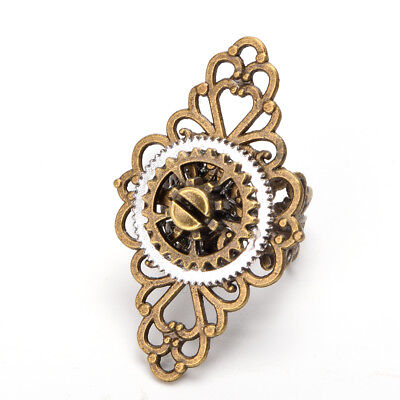 Vintage Victorian Steampunk Gear Floral Ring Gothic Punk Adjustable Ring Unisex