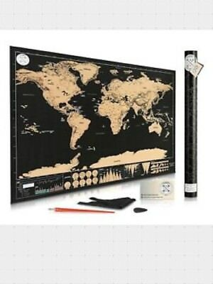 """Scratch Off Map of the World for Travelers Deluxe Gift Edition Large 32""""x 23""""NEW"""