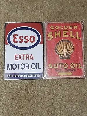 2 Lot Shell Golden Shell Auto Oil & Esso Motor Oil Tin sign vintage style gas