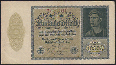 1922 Germany 10000 Mark Rare Old Vintage Antique Banknote Paper Money Currency