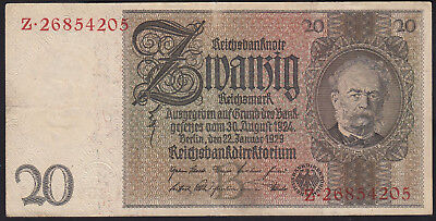 1929 20 Reichsmark VF Germany vintage paper money banknote 3 reich nazi currency