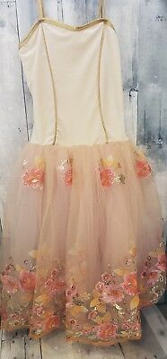 Dance Costume Medium Child multicolor orange Glitter Dress Ballet Competition