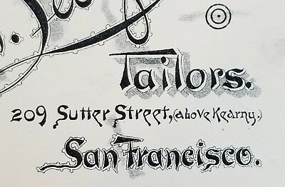 1880's Invoice Artwork ~ F. & S.N. Levy ~ Tailors ~ San Francisco, California