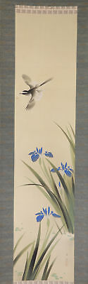 "JAPANESE HANGING SCROLL ART Painting ""Bird and Flower"" Asian antique  #E2474"