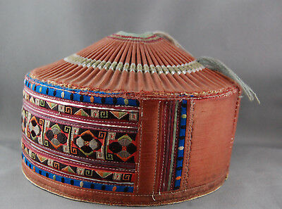Antique Chinese Hmong Miao Hill Tribe Ethnic HAT Embroidery TRIBAL Asian