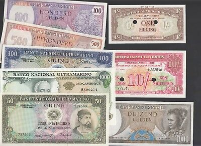 Vintage International Currency Lot of (8) Pieces British Suriname Guinea Moz