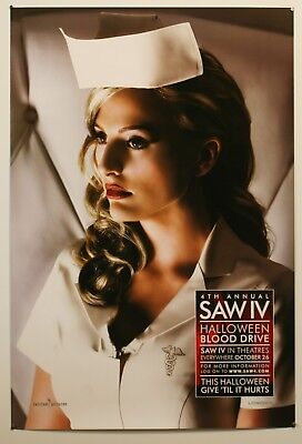 "Saw Iv - 2007 Original Blood Drive Movie Poster 27X40"" Sexy Nurse Horror"