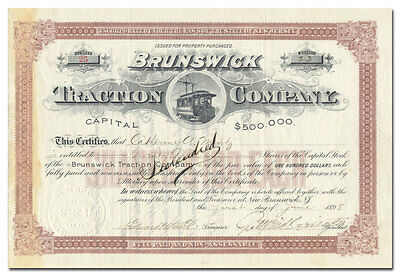 Brunswick Traction Company Stock Certificate (New Jersey)