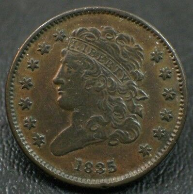 1835 Classic Head Half Cent ~ High Grade 1/2C Early Type Copper Coin
