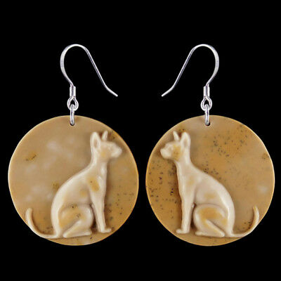 Carved Cat Silver Earring EH900034