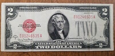 1928 G $2 Bill Red Seal Note Currency United States Dollar 01246535