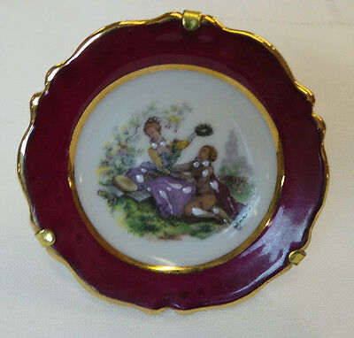 Antique Vintage Small Hand Painted Fm  French Limoges Decorative Plate Berry Col