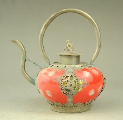 AllAntique Collectible Chinese Handmade Silver & Porcelain Inlaid Teapot Red b01