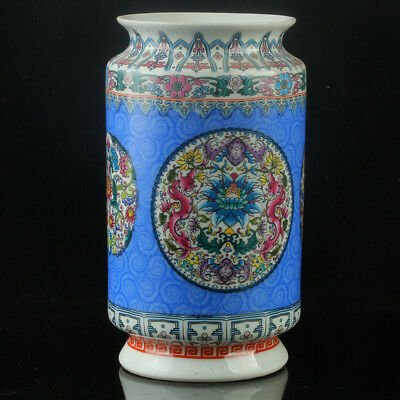 Chinese Porcelain Hand-Painted Flower Vase Mark As The Qianlong Period R1145@