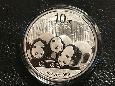 2013 Chinese Panda 1 oz Silver Coin In Capsule