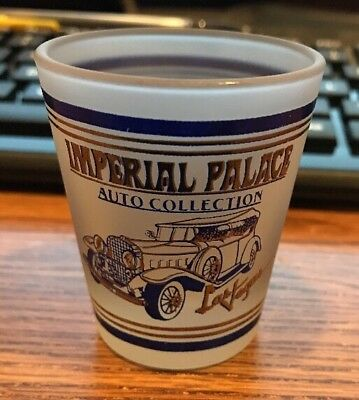 Vintage Imperial Palace Auto Collection Las Vegas Shot Glass Frosted w blue gold