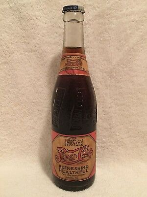 FULL 12oz PEPSI-COLA DOUBLE DOT PAPER LABEL SODA BOTTLE GREENVILLE, S.C.