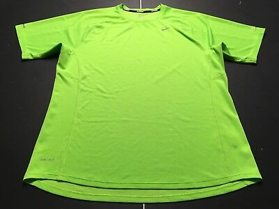 Mens NIKE DRI FIT Bright Green Running Shirt LARGE - Lot of 2 - Great condition.
