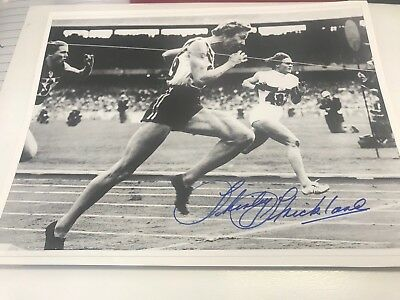 Shirley Strickland Hand Signed 8 X6 Inch Black & White Photo 3 Time Olympic Gold