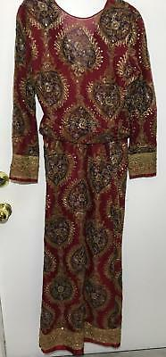 VTG Ladies Indian Style Golden Thread Stitched Deep Red Gown Queen Dress Sz M/L