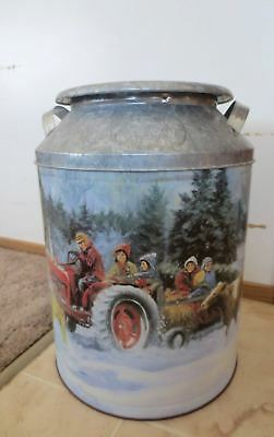 Vintage Houston Harvest Dairy Large Tin Milk Can w Farmyard Scenes