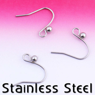10/4 Stainless Steel Silver S Ball Bead Earring Hooks Finding Leverback Findings