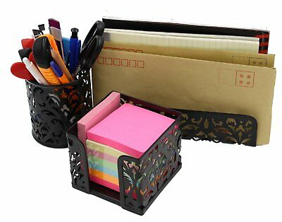 EasyPAG Carved Hollow Flower Pattern 3 in 1 Desk Organizer Executive Offic..