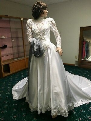 Vintage 80's Ball Gown~ Heavily Embellished High Neck Natural Waist Bodice