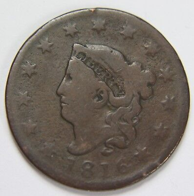 1816 Liberty Matron Coronet Head Large Cent Penny Old US Coin Free Ship P3R C52