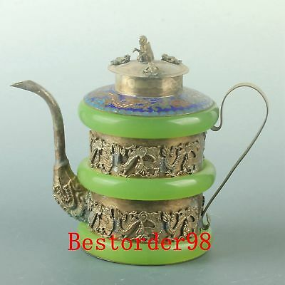 Chinese Tibet Silver Inlay Jade Handwork Carved Chinese Zodiac Teapot CC0337