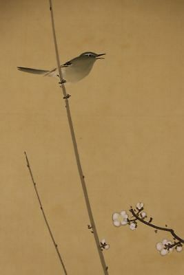 "JAPANESE HANGING SCROLL ART Painting ""Bird and Flower"" Asian antique  #E2517"