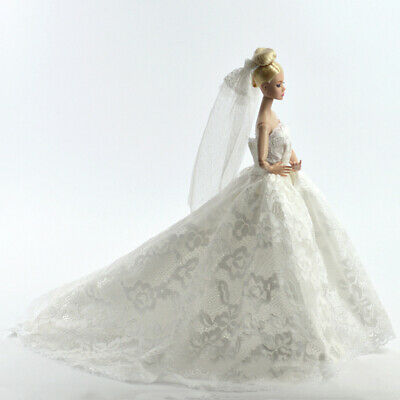 White Gorgeous Wedding Dress Princess Gown Clothes Veil for Doll