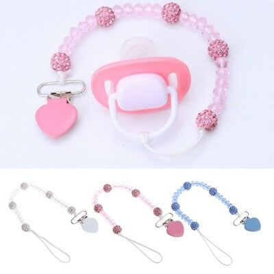 New Baby Pacifier Clips Crystal Soother Chain Dummy Soother Leash Strap Nipple
