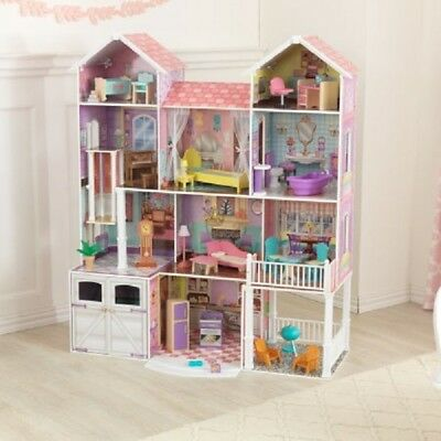 Dollhouse Deluxe Wooden Big Doll House Barbie Size Furniture Girls Play  KidKraft
