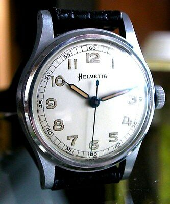 Beautiful Vintage WW II Period HELVETIA MILITARY WATCH 1940's~by OMEGA -Original