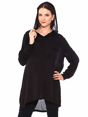Women's Loose Solid Pregnant Maternity Hooded Long Sleeve Buttons Shirt Dress