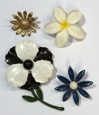 4 Flower Power Vintage Flower Pins Brooches Gold Tone Blue Black White