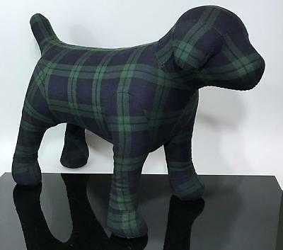 """LARGE 21"""" Plaid Puppy Dog Fabric Covered Secret Store Display Window Mannequin"""