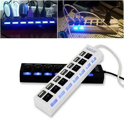 Black 7-Port USB 2.0 Hub with High Speed Adapter ON/OFF Switch for Laptop PC KY