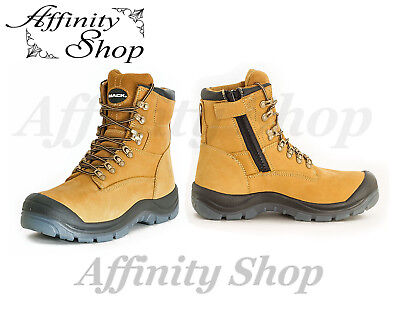 Mack Blast Work Boots Leather Safety Footwear with Zip, Steel Toe, AS/NZS Stds