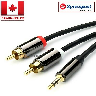 3.5mm Jack Plug Male to 2 RCA Stereo Audio Cable Metal Connector 1/3/5 Meter CA