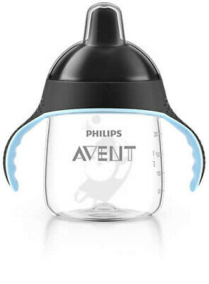 NEW Philip Avent Sip No Drip Drinking Spout Cup Black 200ml