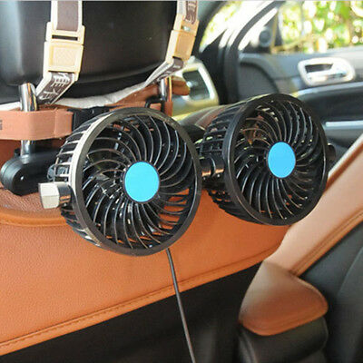 Two Fans 12V Car Headrest Cooling Fan Rear Back Seat Air Cooler Circulation 1pcs